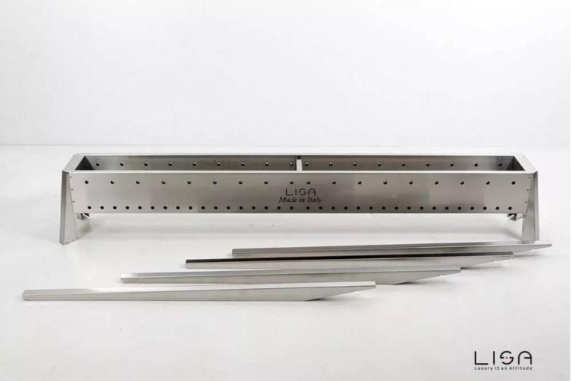 LISA Cuocispiedini Arrosticini Miami 1500 da 150 cm Fornacella in Acciaio INOX